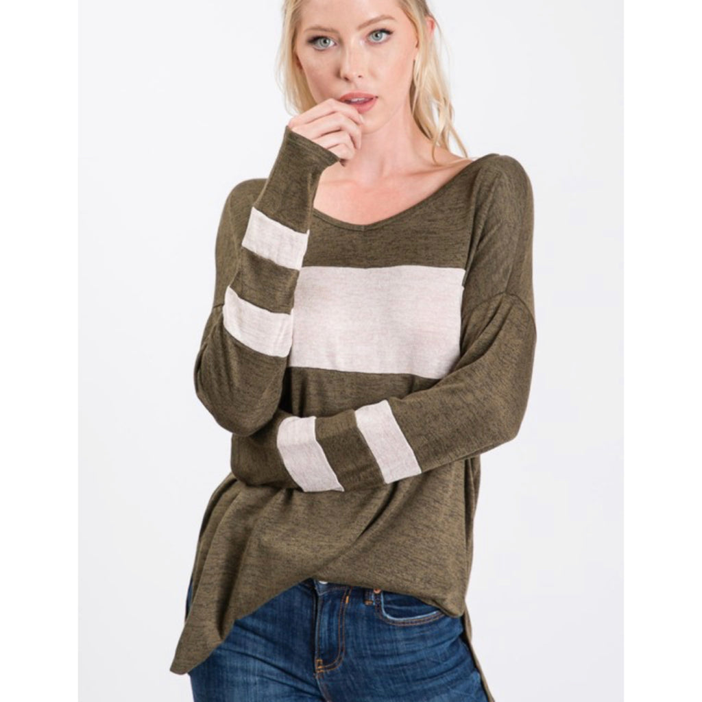 Comfy Striped Tee - Olive