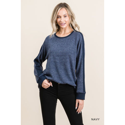 Hacci Brushed Ribbed Shoulder - Navy