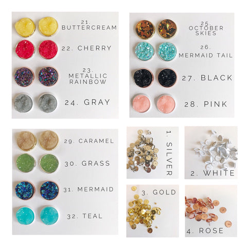 12MM Druzy Earrings Options 25-32