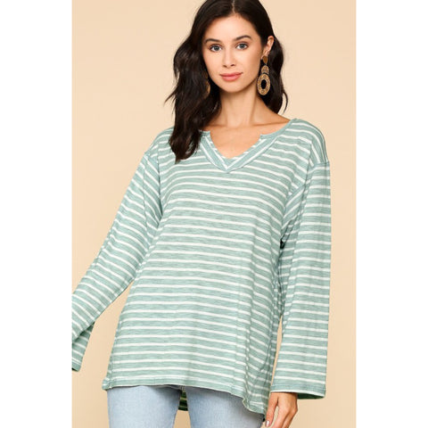 Casual Long Sleeve Tee - Sage