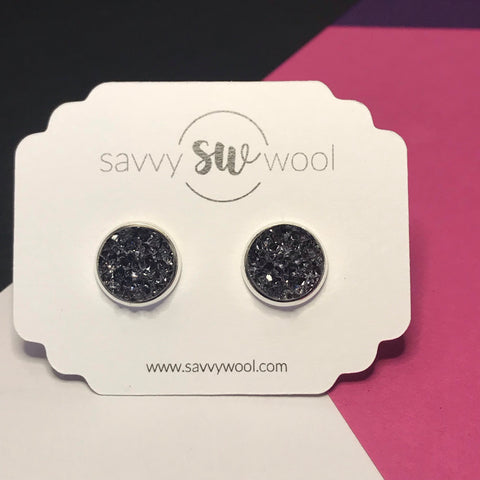 12MM Druzy Earrings - Slate