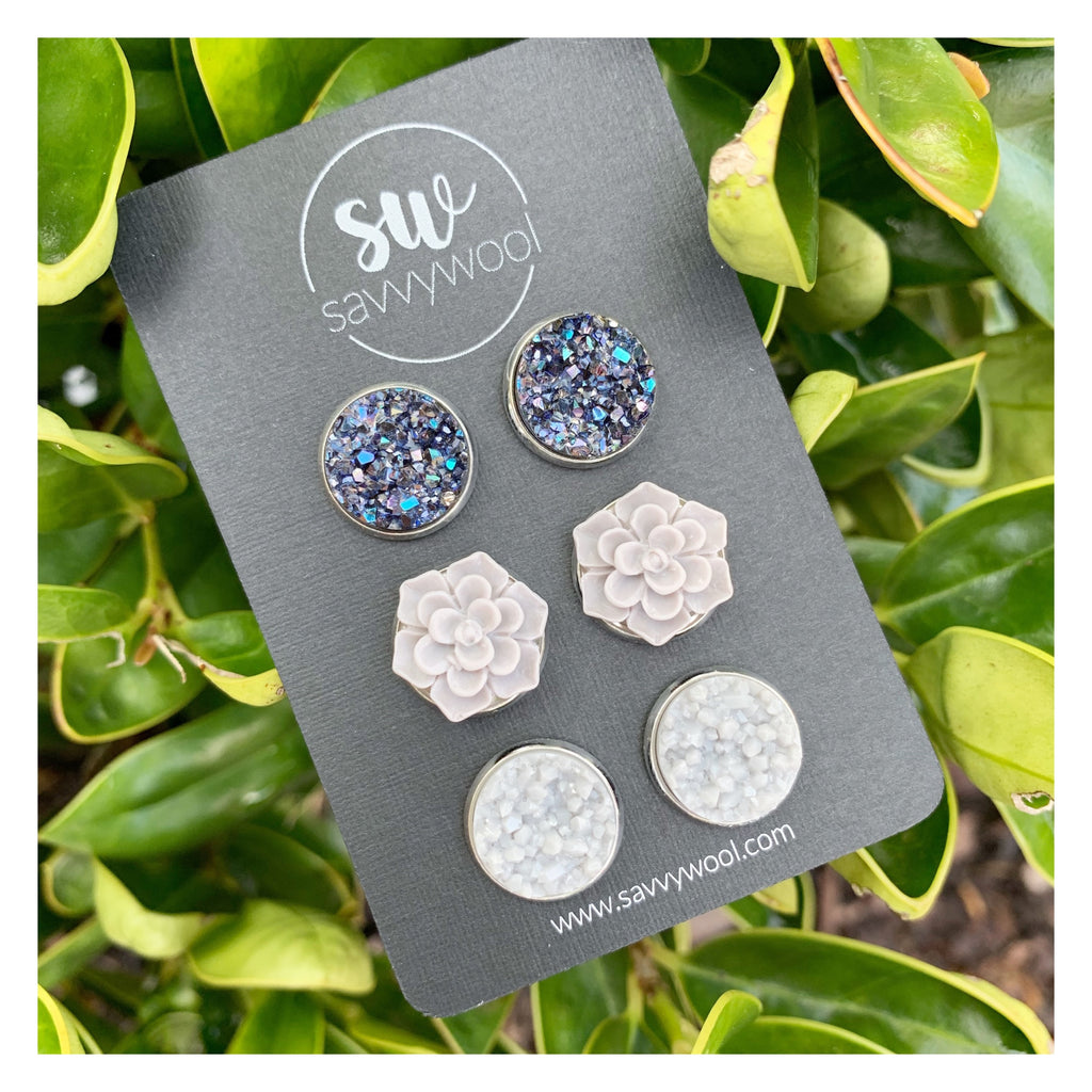 Shades of Gray Druzy Set