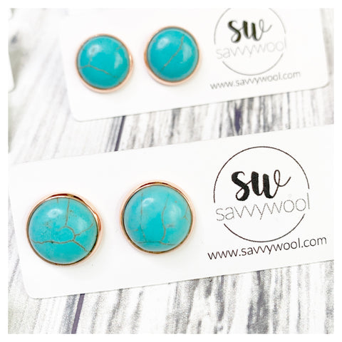 12MM Druzy Earrings - Rounded Turquoise