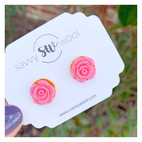 12MM Druzy Earrings - Pink Rose