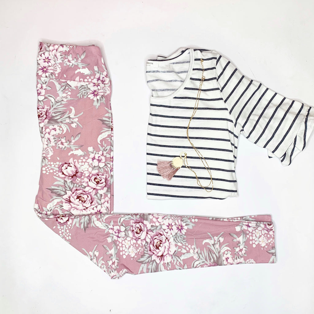 Floral Leggings Pink - Yoga Waist - SO soft