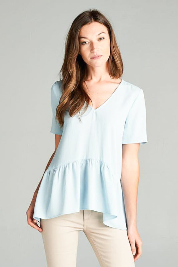Sloane Peplum Blouse - Sea Blue