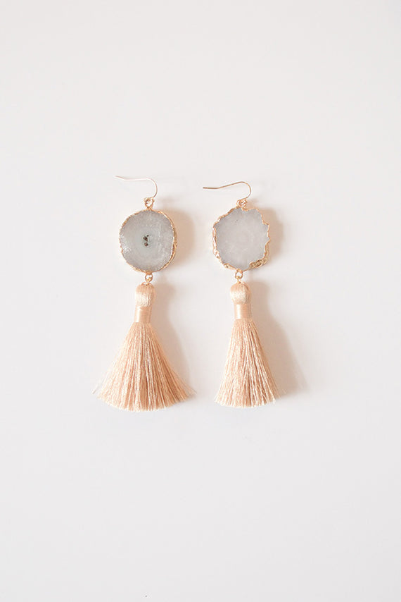 Harper Agate Slice Tassel Earrings