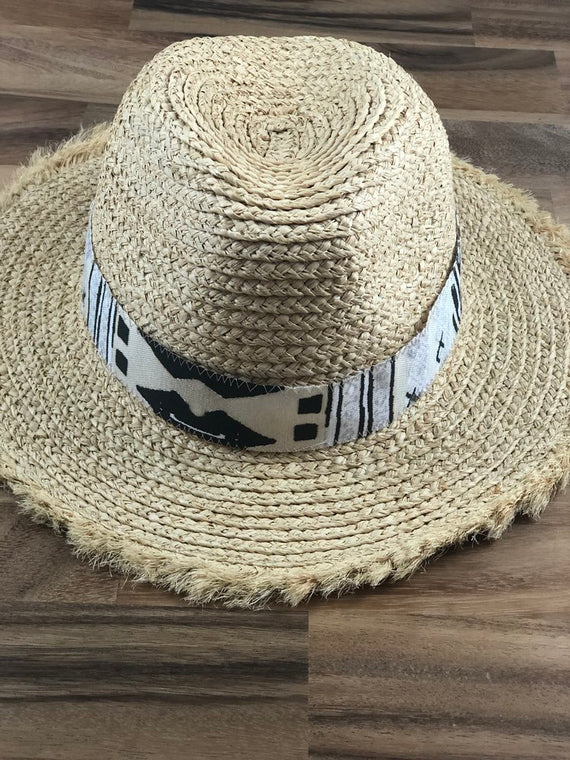 Raffia Straw Hat - Black