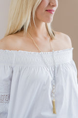 Everly Glass Bead Tassel Necklace