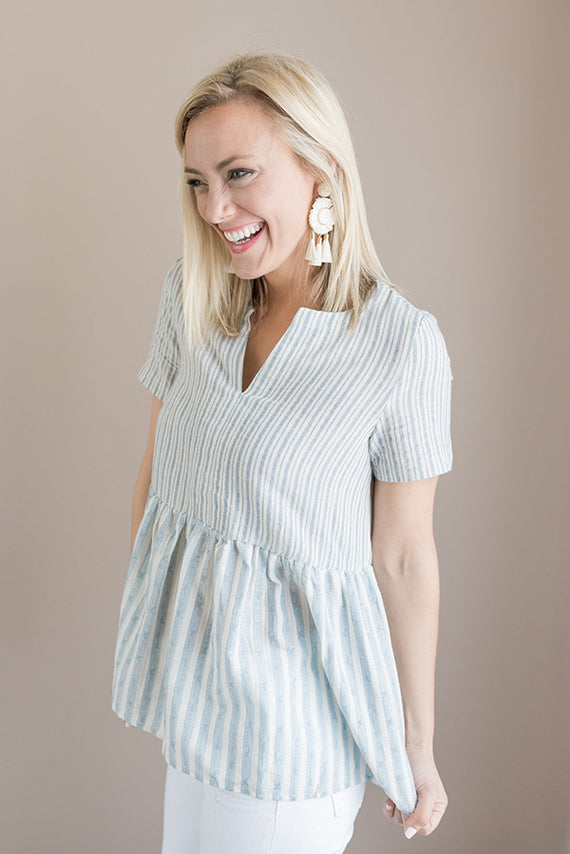 Waverly Striped Short Sleeve Top