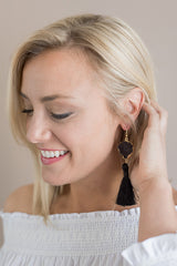 Harper Agate Slice Tassel Earrings - Black