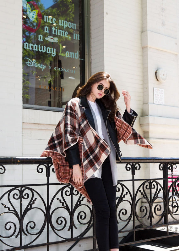 Reversible Plaid Poncho - Tan