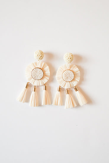 Serena Raffia Tassel Earrings - Ivory