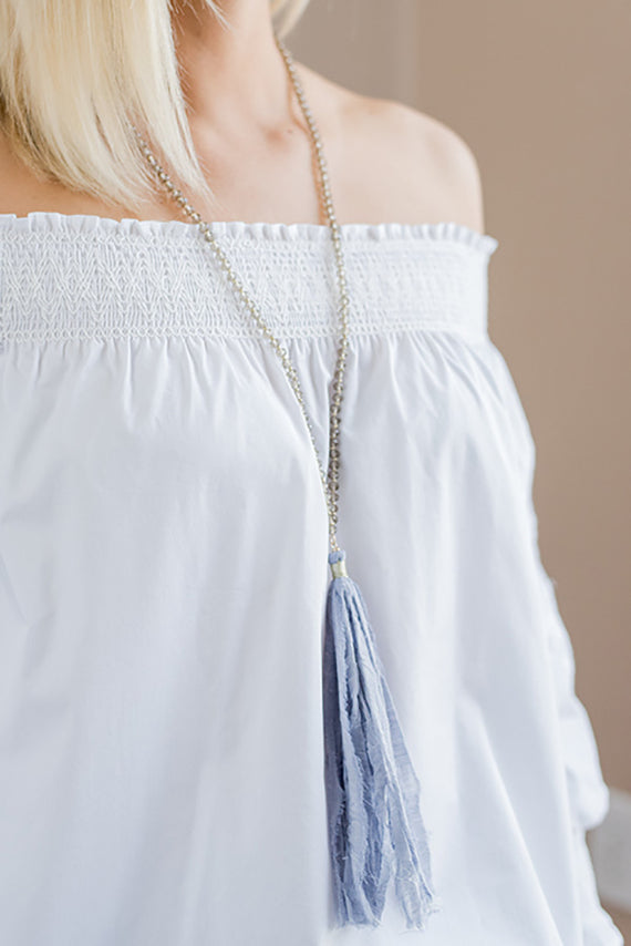 Dallas Glass Bead Fabric Tassel Necklace