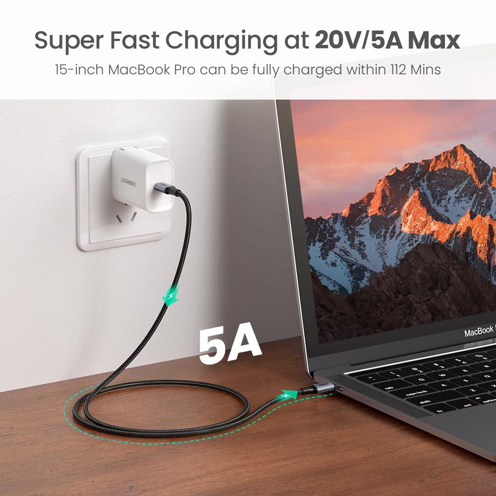 Cable Data USB Type C to Type C UGREEN US316 Braided PD 100W Fast Charging