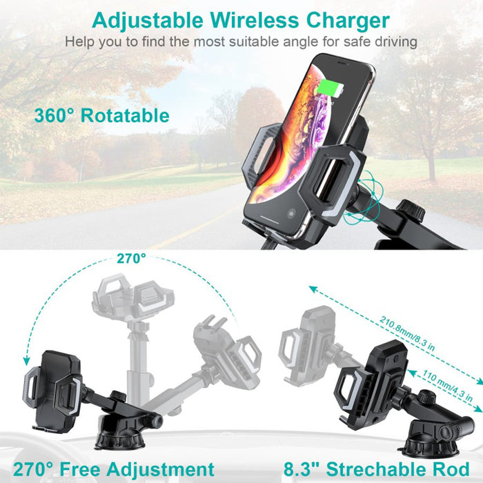 Car holder Choetech Wireless Charger 15W Qi Wireless Car Fast Charging