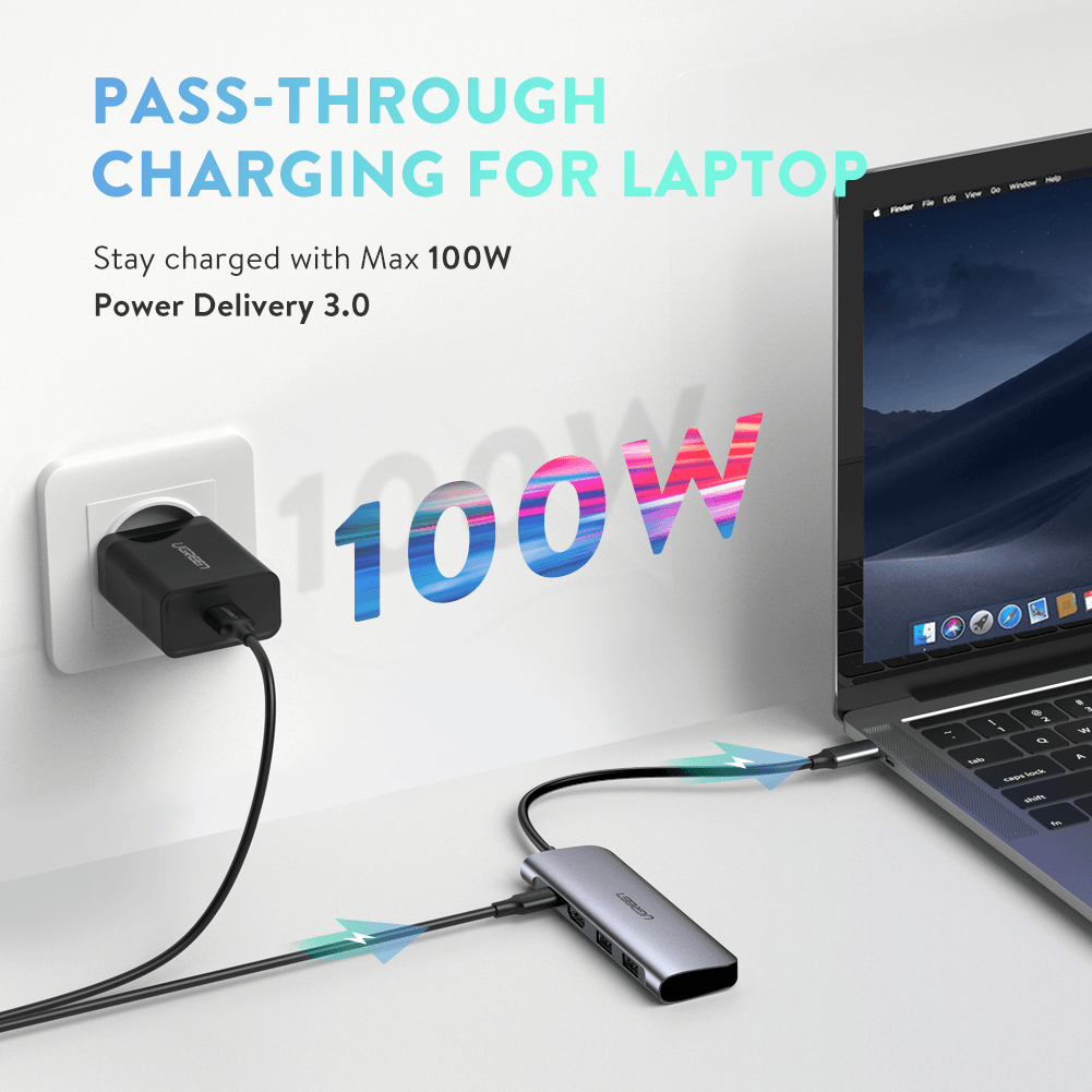 Adapter HUB USB C 4/6/10 in 1 UGREEN CM219 CM195 CM179 Type C Mini HUB
