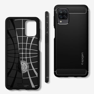 Case Samsung Galaxy A12 Spigen Rugged Armor Carbon Fiber Casing