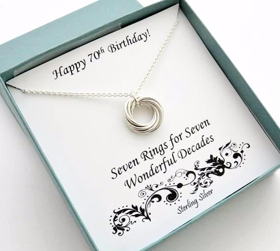70th Birthday Gift Sterling Silver Birthday Necklace