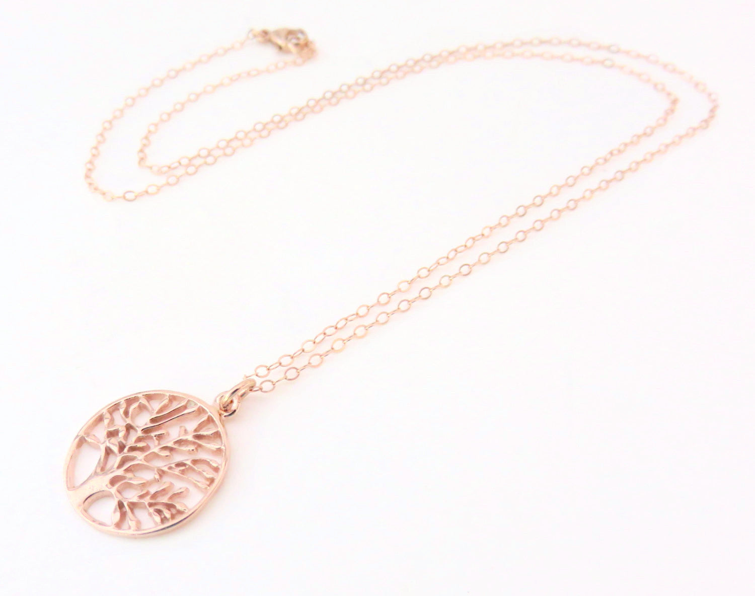 Rose Gold Tree of Life Necklace Handmade Jewelry by Marcia H