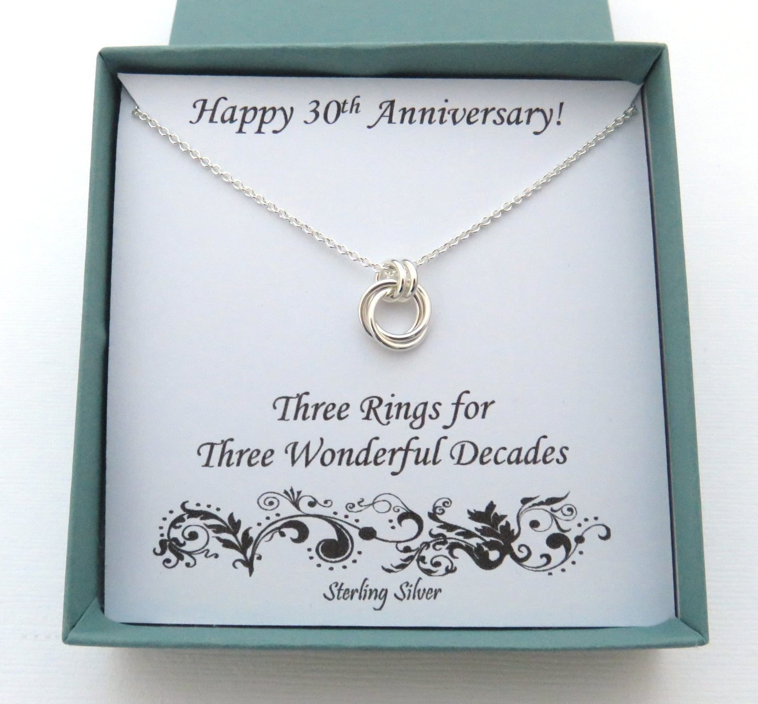 30th anniversary gift sterling silver necklace marciahdesigns