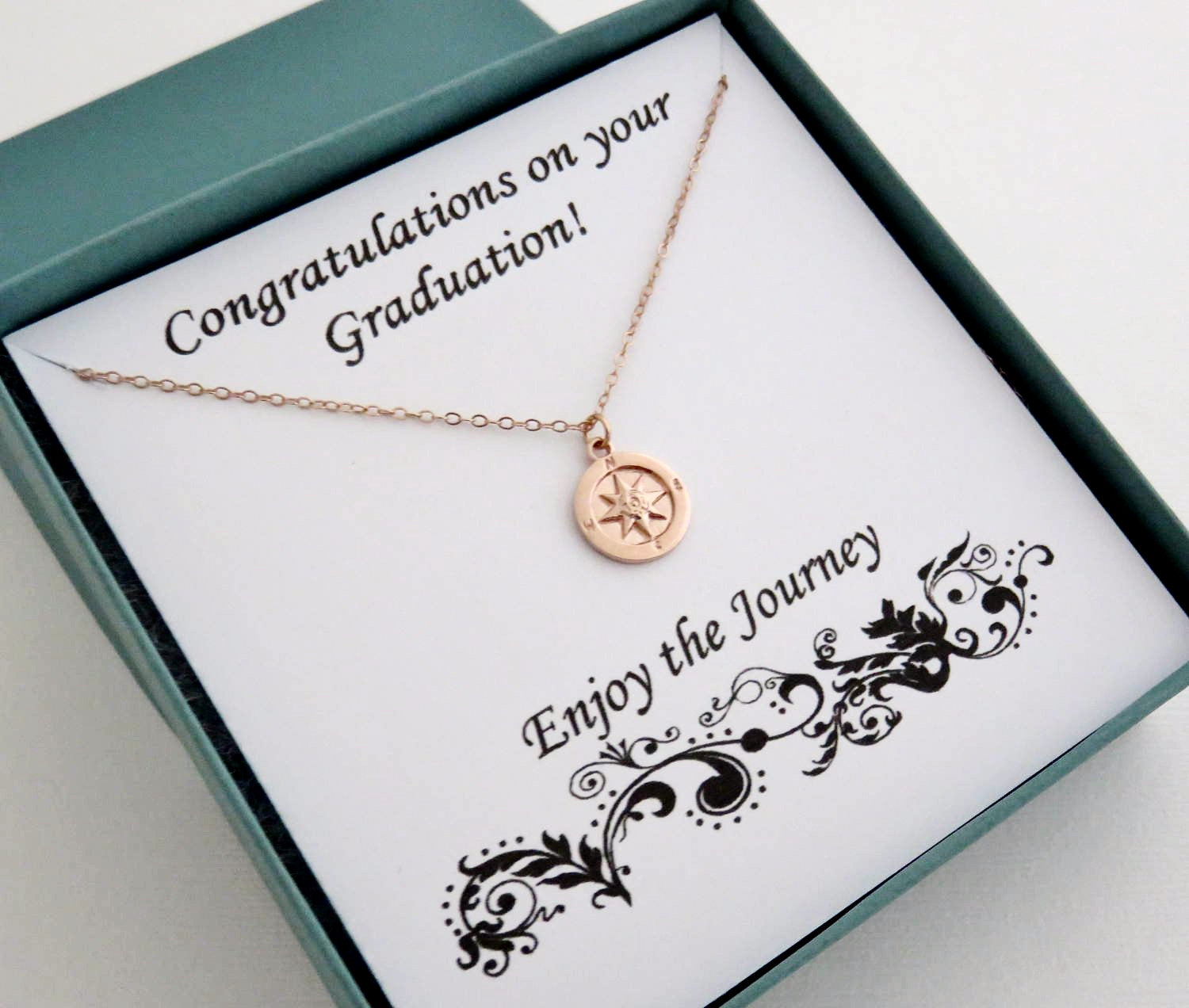 rose gold compass necklace graduation gift marciahdesigns