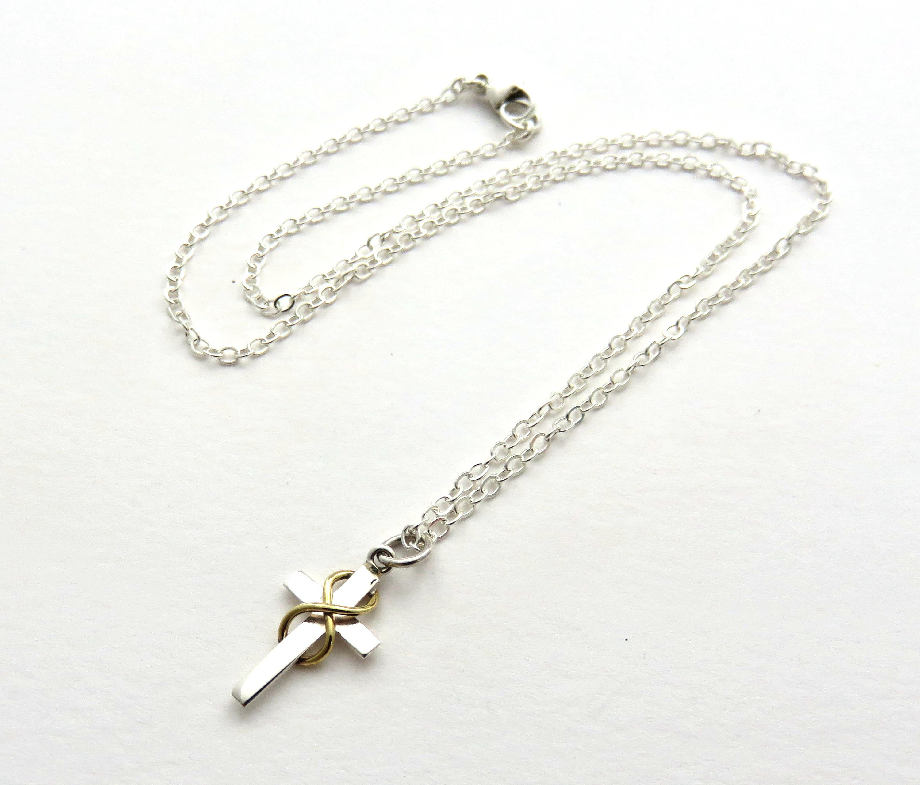 infinity cross necklace. first communion gift, silver infinity cross necklace - handmade jewelry
