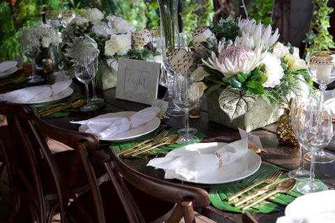 White/Ivory and gold table setting