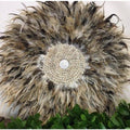 50cm Feather and Shell Wall Art Juju Multi-tone