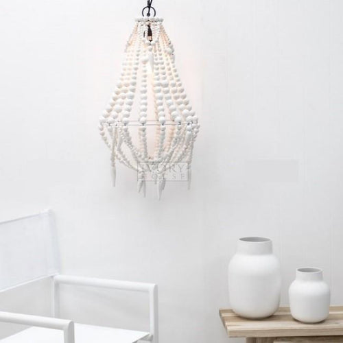Aria Beaded Chandelier - White Lighting Dianna-Lynn Decor