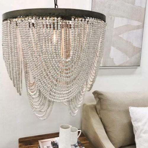 Art Deco Beaded Chandelier - White 65cm Lighting Dianna-Lynn Decor