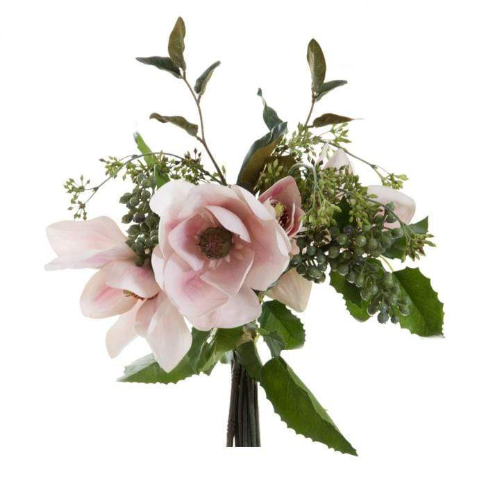 Artificial Magnolia/Grape/Berries Bouquet - Pink
