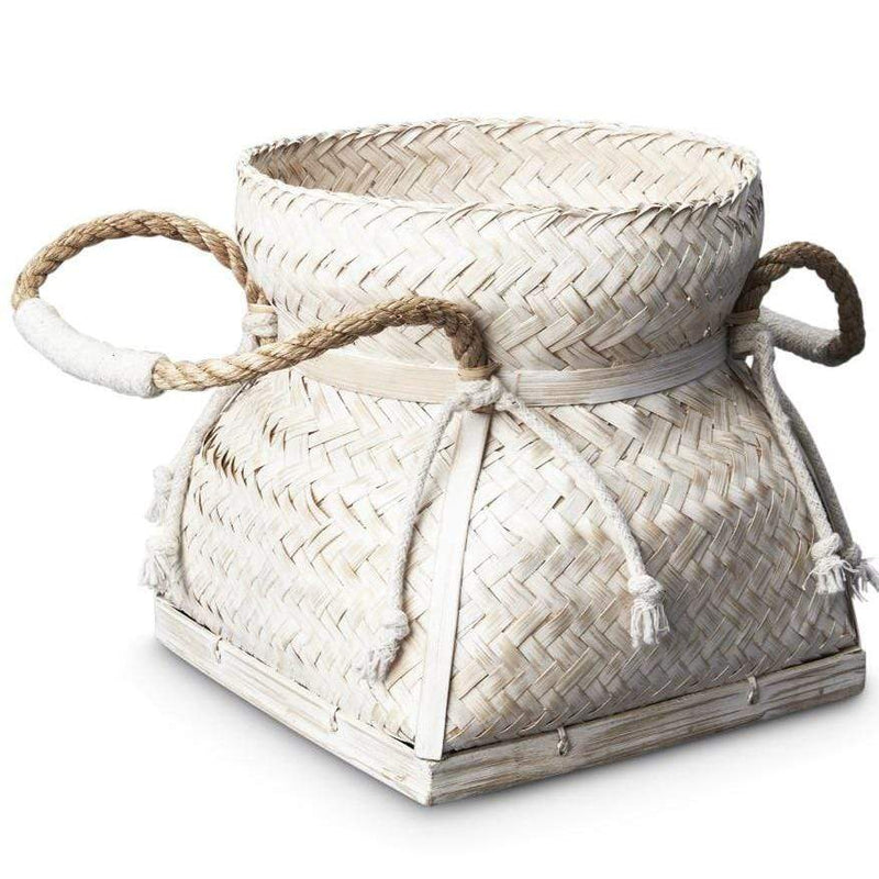 Bamboo Basket with Flat Base and Handles - WHITEWASH