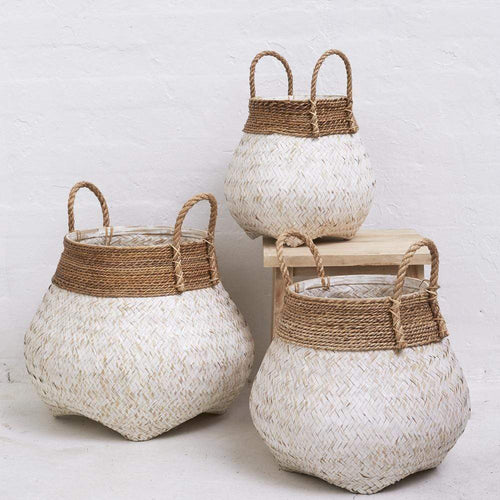 Bamboo Basket with Seagrass Trim WHITEWASH - Small/Large/XLarge Basketware Dianna-Lynn Decor