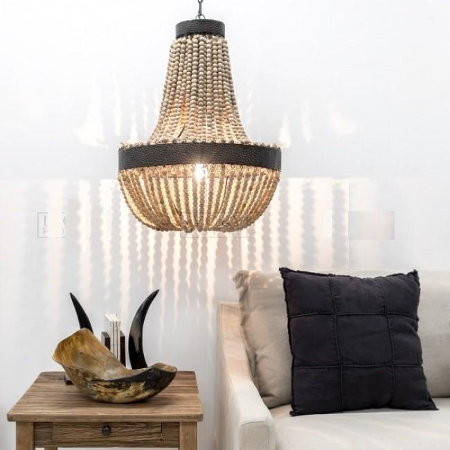 Beaten Metal Beaded Chandelier - Natural