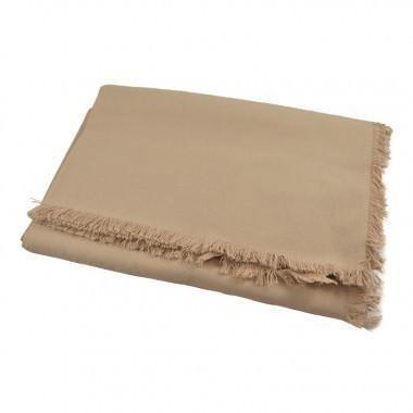 Beige cotton Fringed Tablecloth-160x240cm