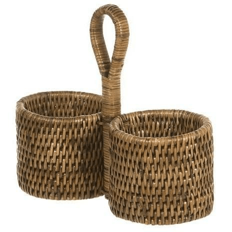Brown Rattan Double Bottle Holder Rattan Homewares Dianna-Lynn Decor