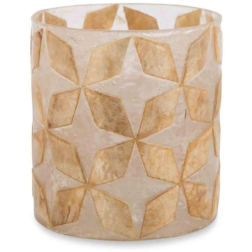 Capiz Shell Votive Candle Holder - Brown Lanterns and Candle Holders Dianna-Lynn Decor