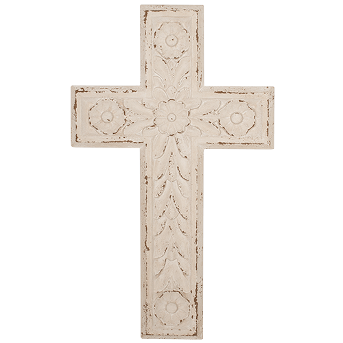 Carved Wooden Cross Wall Decoration - Milk