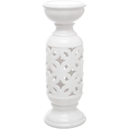 Ceramic Frangipani Candle Holder White Lanterns and Candle Holders Dianna-Lynn Decor