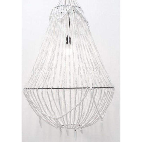 Extra Large Aria Beaded Chandelier - White Lighting Dianna-Lynn Decor