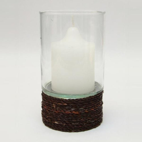 Glass Hurricane Candle Holder - Seagrass 10.5cm x 17cm Lanterns and Candle Holders Dianna-Lynn Decor