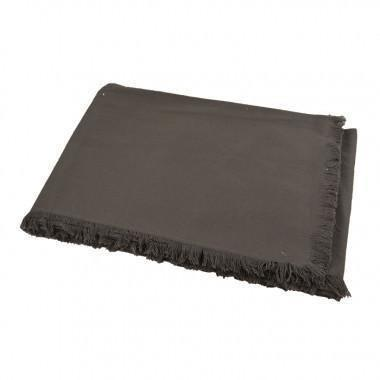 Grey Cotton Fringed Tablecloth-160x240cm