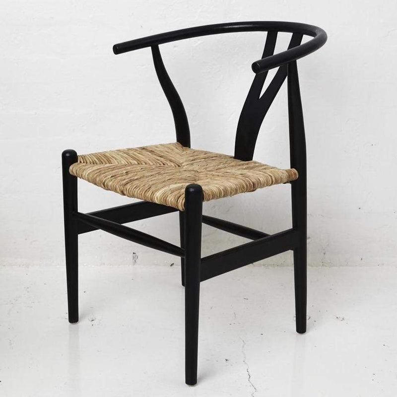 Hand carved 'Sarin' Dining Chair with Rattan Seat - Black