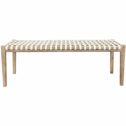 Jumbo Rewa Bench Seat in White Low Stools and Benches Dianna-Lynn Decor