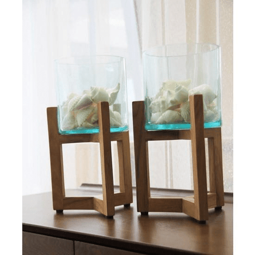Kandy Glass and Wood Lantern Lanterns and Candle Holders Dianna-Lynn Decor