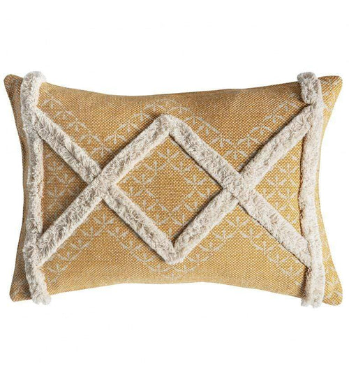 Kazaar Hand Embroidered Cushion Ochre Soft Furnishings Dianna-Lynn Decor
