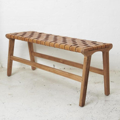 Kemi Brown Leather Bench Seat Low Stools and Benches Dianna-Lynn Decor
