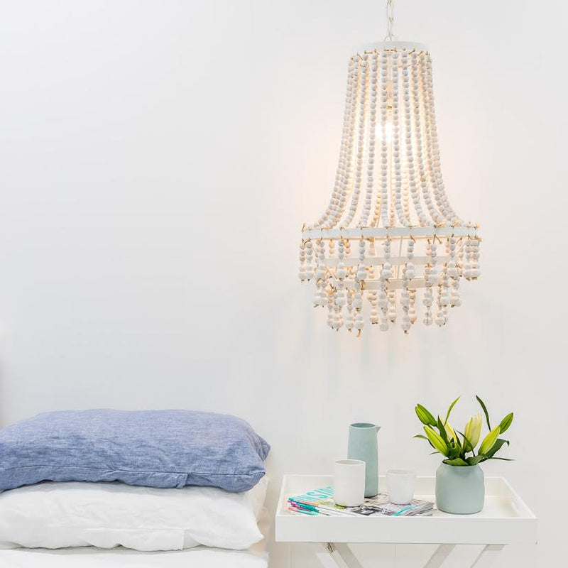 Laki White Beaded Chandelier - 70cm