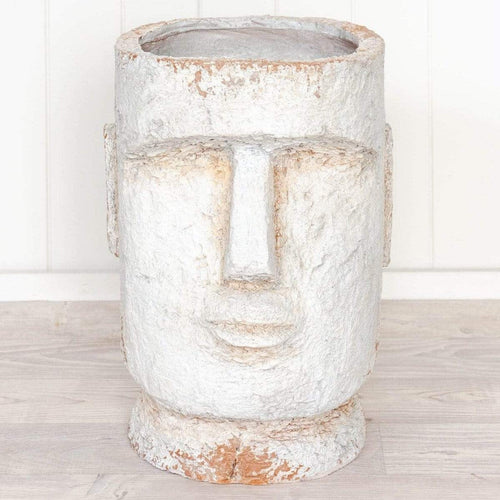 Large Maui Face Planter Pot - Antique White Planters and Vases Dianna-Lynn Decor